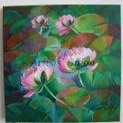 Water Lilies Original Oil Painting Nénuphar Ponds Pink Flowers Impression Fine Art Europe Artist