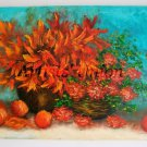 Autumn Bouquet Original Oil Painting Impasto Still Life Fruits Orange Flowers Impression EU Artist