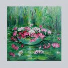 Water Lilies Original Oil Painting Pink Flowers Impression Nénuphar Ponds Fine Art Europe Artist