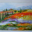 Landscape Tuscany Original Oil Painting Impasto Trees Fields Summer Meadow Impression Europe Artist