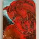Red Horse Original Oil Painting Impasto Expressionist Art Animal Fine Art Portrait Europe Artist