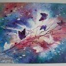Butterflies Impression Original Oil Painting Impasto Fantasy Purple Pink White Meadow Europe Artist