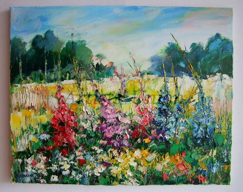 Meadow Delphinium Original Oil Painting Impasto Palette knife art Larkspurs Flowers Europe Artist