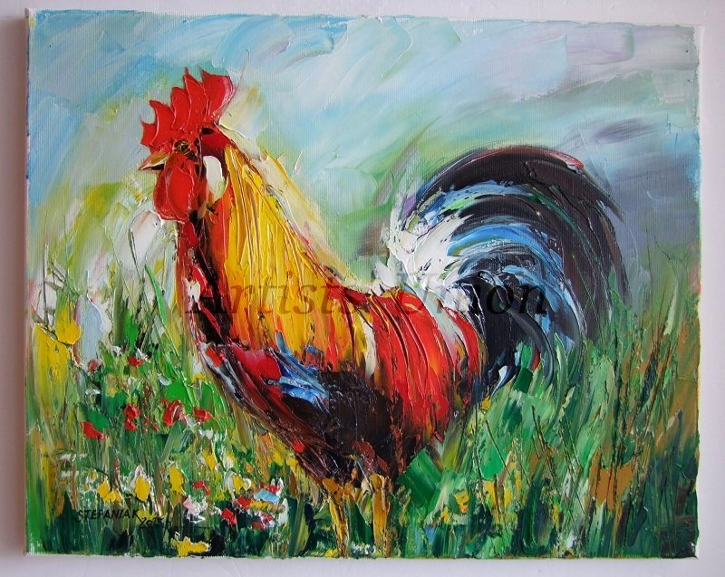 Rooster Original Oil Painting Impasto Colorful Bird Art Animal Textured Palette Meadow Landscape