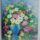 Still Life Original Oil Painting Wild Roses Fine Art Flowers Pink shabby chic Impression EU Artist