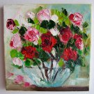 Red Pink Roses Original Oil Painting Impasto Still life Textured Flower Art Glass vase Europe Artist
