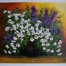 White Daisies Original Oil Painting Still Life Purple Flowers Impression Impasto Palette EU Artist