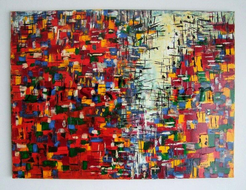 Genesis Original Oil Painting Modern Abstract Red Impasto Palette Knife Cityscape EU Artist Offer