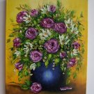 Roses Magnolias Original Oil Painting Still Life Textured Art Pink Impasto Blue Vase Europe Artist