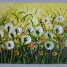 Dandelions Original Oil Painting Impasto Meadow Landscape Flowers Impressionism Modern Art EU Artist