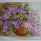 Lilacs Original Oil Painting Still Life Impasto Purple Flowers Impression Linen Textured Vase EU Art