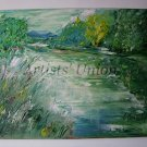 Impasto Landscape Original Oil Painting Spring River Green Meadow Palette Knife Art Fields EU Artist