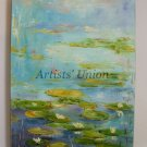 Lake Original Oil Painting Landscape Water Lilies Impressionism Flowers Impasto Linen Europe Artist