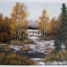Landscape Original Oil Painting Winter River Forest Snow Trees Impression Fall Impasto Europe Artist
