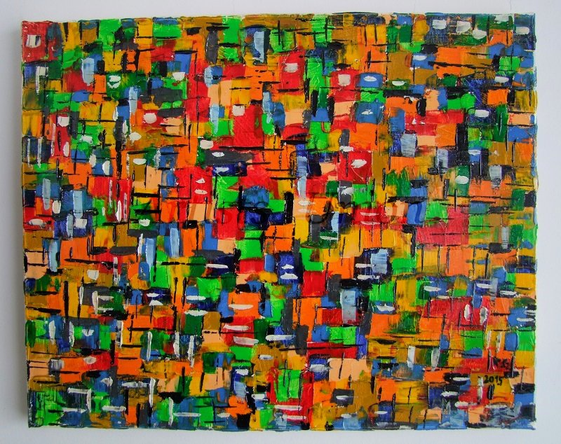 Abstract Original Oil Painting Red Green Modern Impasto Palette knife Contemporary EU Artist Offer