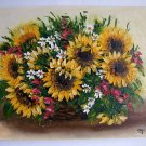 Sunflowers Original Oil Painting Impasto Still Life Wild Flowers Bouquet Daisies Palette EU Artist