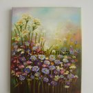 Wild Flowers Original Oil Painting Meadow Field Colorful Pink Blue Impression Fine Art Europe Artist