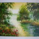 Landscape Original Oil Painting Lake Red Poppies Trees Water Lilies Impasto Forest Impression EU Art