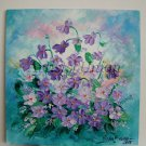 Violets Original Oil Painting Impasto Purple Flowers Textured Impression Palette Knife Board EU Art