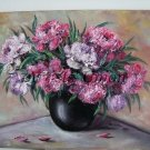 Peonies Original Oil Painting Impasto Still Life Purple Pink Bouquet Palette Knife Flowers EU Artist