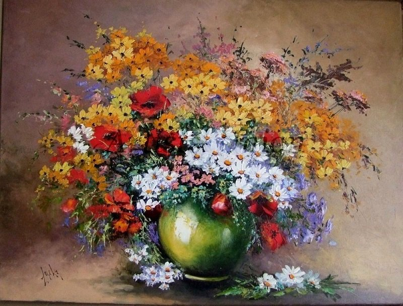 Still life Original Oil Painting Red Poppies Impasto White Daisies Wild Flowers Exquisite Big EU Art