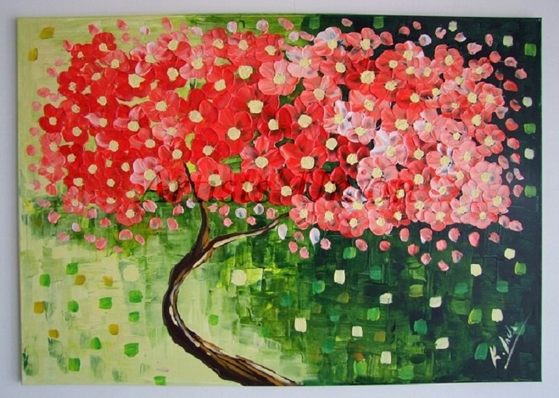Tree Large Original Oil Painting Impasto Abstract Red Pink Flowers Palette knifeTextured Impression