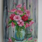 Bindweed Original Oil Painting Pink Flowers Still life Impressionism Fine Art Bouquet Glass Vase
