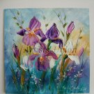 Irises Impasto Original Oil Painting Purple White Flowers Palette knife Textured Art Meadow Garden