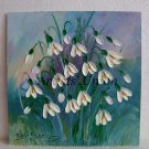 Snowdrops Impasto Original Oil Painting White Flowers Impression Galanthus Palette knife Textured