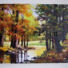 Autumn Original Oil Painting Forest River Bend Fall Landscape Impasto Leaves Delicate Textured Art