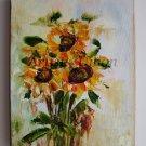 Sunflowers Original Oil Painting Impasto Palette knife Textured Art Yellow Orange Impression Linen