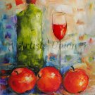Still life Original Oil Painting Red Apples Wine Glass Green Bottle Food Art Modern Palette Knife