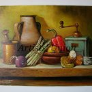 Still life Original Oil Painting Asparagus Brass Mortar Fine Art Vegetables Mushrooms Coffee Grinder