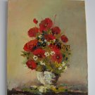 Red Poppies Original Oil Painting Impasto Wild Flowers Bouquet Vase Still Life Daisies Textured Art