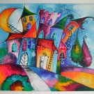 Original Acrylic Painting Magic City Moon Kids Art Fairy Tale Cityscape, EU Artist, Baby Shower Gift