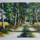 Landscape Original Oil Painting Trees Colza Fields Road Forest Green Fall Impasto Art Season Autumn