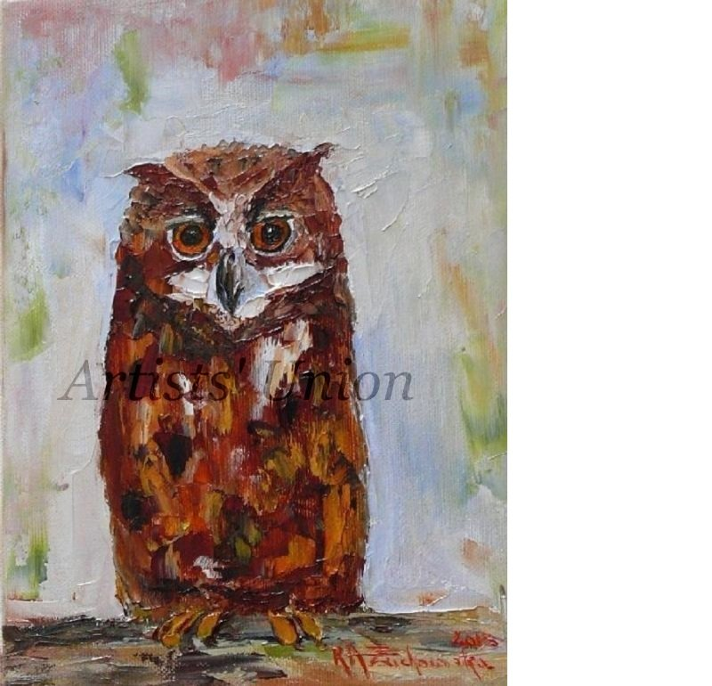 Eagle Owl Original Oil Painting Bird Art Impasto Aigle Palette Knife Textured Animal art for Kids