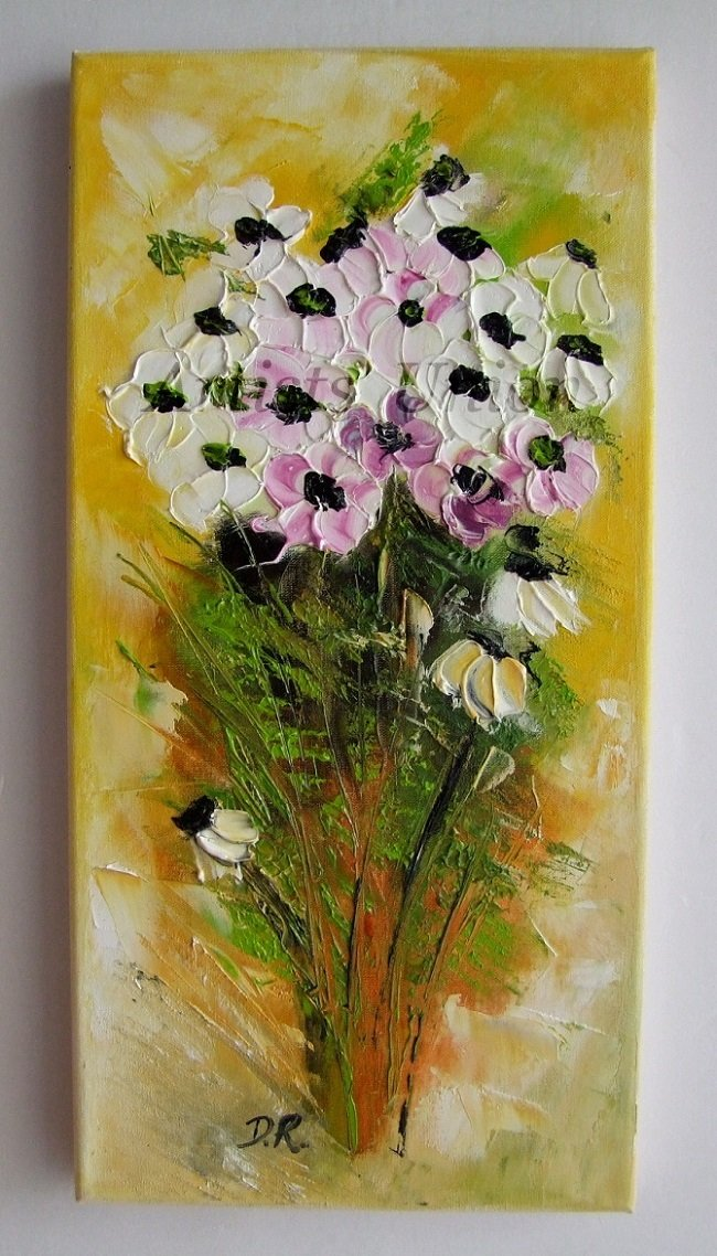 Original Oil Painting Anemones White Flowers Palette Knife Impasto Art Floral Textured Impression