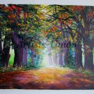 Autumn Alley Original Oil Painting Landscape Fall Leaves Park Trees Impasto Textured Art Red Green