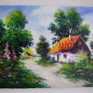 Landscape Cottage Original Oil Painting Spring Countryside Flowers Garden Trees Impasto Mallows