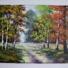 Autumn Forest Original Oil Painting Fall Trees Impression Landscape Impasto Textured Art Leaves