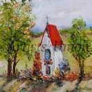 Landscape Chapel Original Oil Painting Wayside Shrine Flowers Impasto Delicate Textured Fields Trees