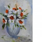 White Flowers Original Oil Painting Still life Palette knife Impasto Impression Linen Canvas Vase
