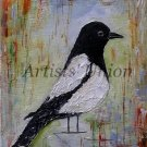 Magpie Bird Art Original Oil Painting Fine Impasto Palette knife Animal Linen Canvas ArtistsUnion