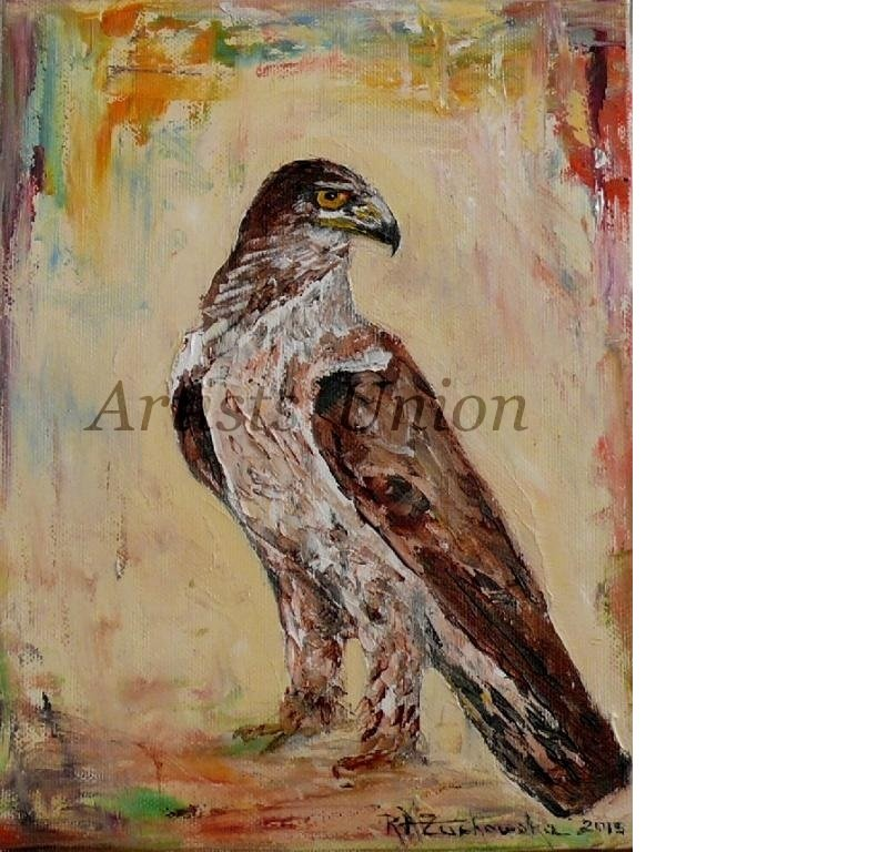 Eagle Bird Art Original Oil Painting �guila Impression Impasto Animal Fine Art Linen Canvas Texture