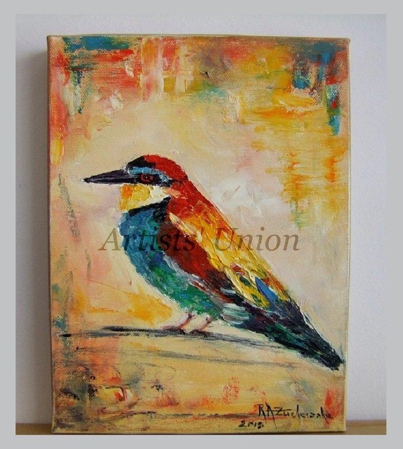 Bee-eater Original Oil Painting Small Bird Art Pájaro Colorful Nursery Wall Decor Impasto Linen