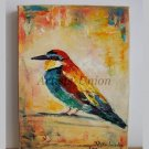 Bee-eater Original Oil Painting Small Bird Art Pájaro Colorful Nursery Wall Decor Impasto Linen