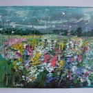 Meadow Original Oil Painting Modern Colorful Wild Flowers Impasto Textured Art Impressionist Linen