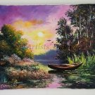 Autumn Landscape Original Oil Painting Fall Lake Boat River Forest Sunset Season Textured Impasto