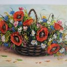 Still Life Original Oil Painting Red Poppies Impasto Wild Flowers Bouquet Basket Palette Knife Art